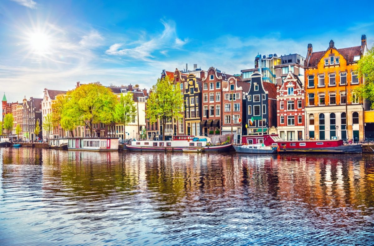 amsterdam netherlands viewed from a boat